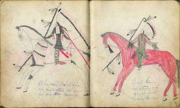Plains Indian Ledger Art: Fales-Freeman Brulé Ledger - Whirlwind Soldier In Full Style of Armor for Fighting Pawnee / Bad Gun In Style of Armor for Fighting Pawnee