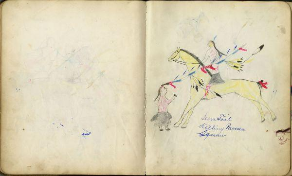 Plains Indian Ledger Art: Fales-Freeman Brulé Ledger - Iron Tail Killing Pawnee Squaw