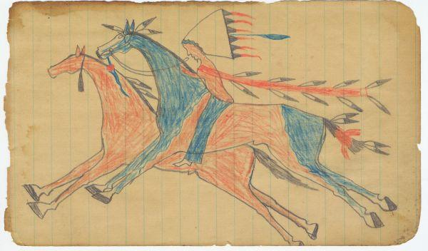 Plains Indian Ledger Art: Leatherwood/Scares the Enemy Ledger - Stealing a Horse
