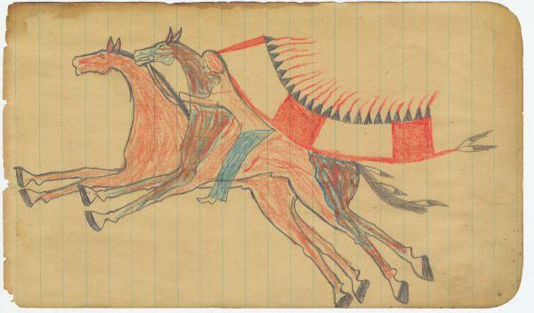 Plains Indian Ledger Art: Leatherwood/Scares the Enemy Ledger - Stealing a Horse (2)