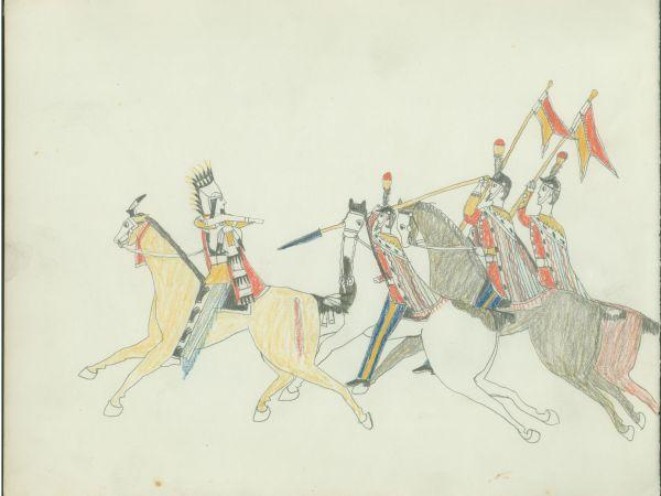 Plains Indian Ledger Art: Etadleuh Doanmoe Sketchbook - Rice County Historical Society - Warrior Pursued by Mexican Soldiers
