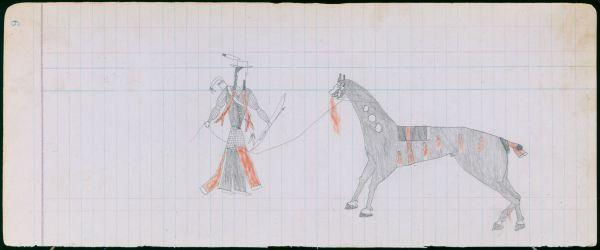 Plains Indian Ledger Art: Arrow's Elk Society Ledger - PLATE 9