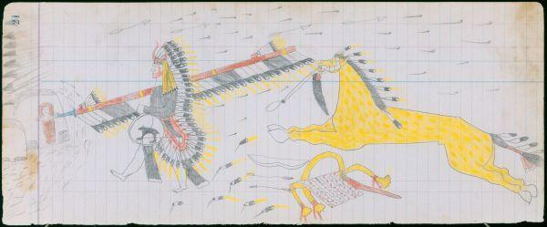 Ledger Art Of Elk : Plains indian ledger art arrow s elk society