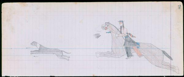 Plains Indian Ledger Art: Arrow's Elk Society Ledger - PLATE 70