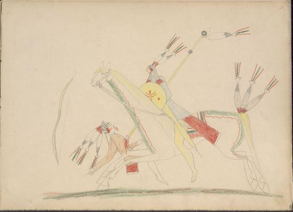 Plains Indian Ledger Art: Silver Horn Ledger Book (Nelson-Atkins) - Ka-nati, Kiowa Killing Pawnee