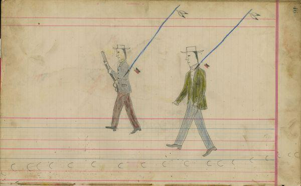 Plains Indian Ledger Art: Black Horse Ledger - Untitled