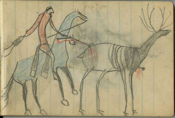 Ledger Art Of Elk : Plains indian ledger art wild hog schøyen plate
