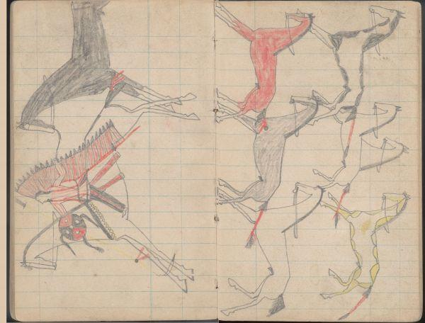 Plains Indian Ledger Art: Soldier's Diary Ledger - PLATE 17