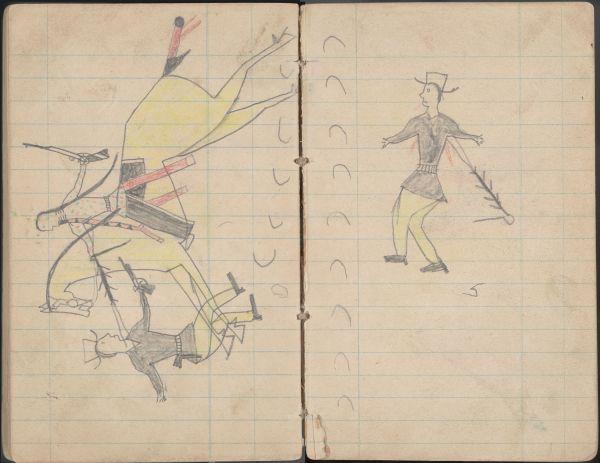 Plains Indian Ledger Art: Soldier's Diary Ledger - PLATE 19