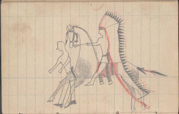 Plains Indian Ledger Art: Soldier's Diary Ledger - PLATE 20