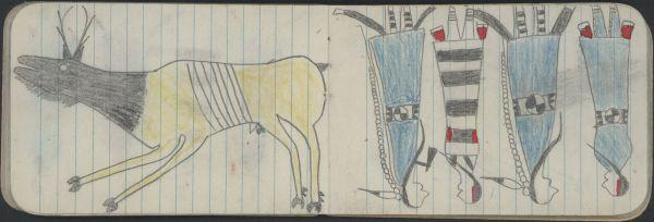 Ledger Art Of Elk : Plains indian ledger art northern cheyenne kansas