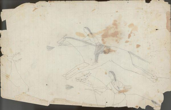 Plains Indian Ledger Art: Keeling Ledger - PLATE 4