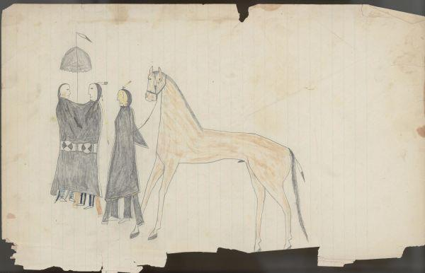 Plains Indian Ledger Art: Keeling Ledger - PLATE 6