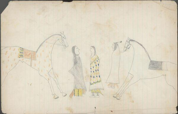 Plains Indian Ledger Art: Keeling Ledger - PLATE 7