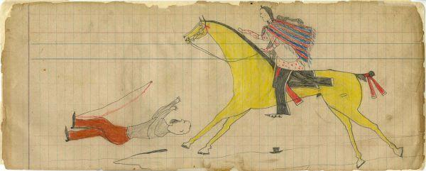 Plains Indian Ledger Art: Mad Bull Ledger   - Warrior with Serape Kills Man with Beard and Hat – wagonner?
