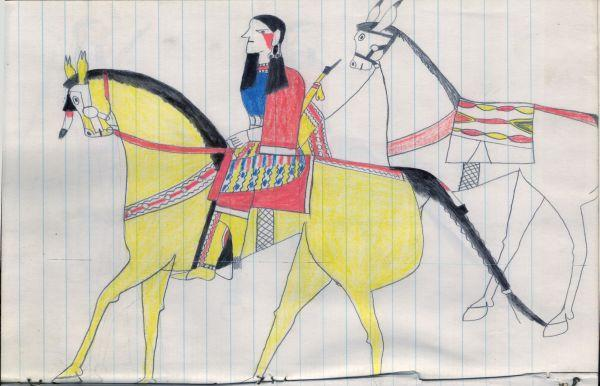 Plains Indian Ledger Art: Bad Eye Sketchbook - PLATE 50